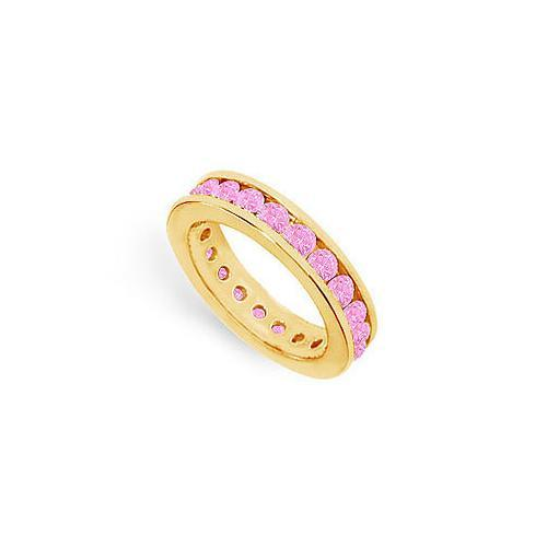 Pink Sapphire Eternity Band : 14K Yellow Gold – 2.00 CT TGW-JewelryKorner-com