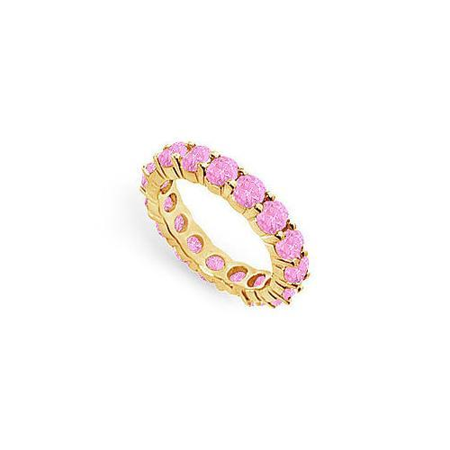 Pink Sapphire Eternity Band : 14K Yellow Gold – 3.00 CT TGW-JewelryKorner-com