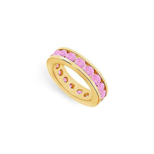 Pink Sapphire Eternity Band : 14K Yellow Gold – 4.00 CT TGW-JewelryKorner-com