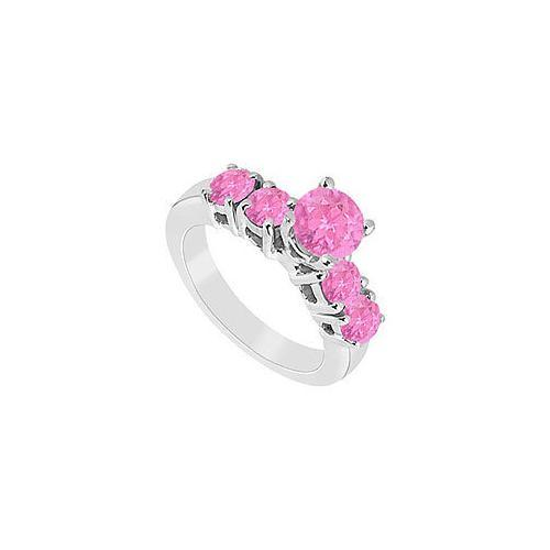 Pink Sapphire Ring : 14K White Gold - 1.50 CT TGW-JewelryKorner-com