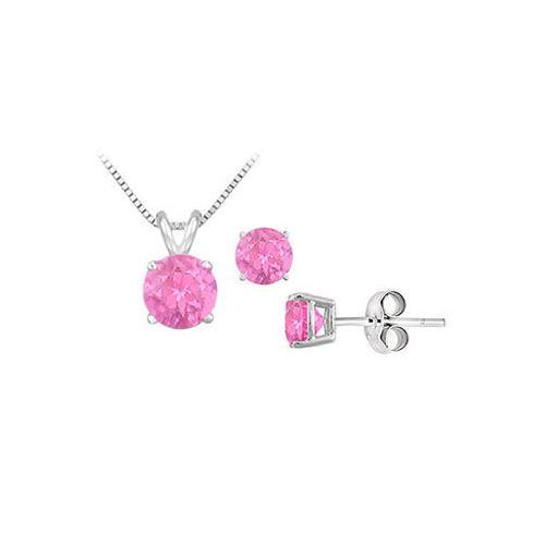 Pink Sapphire Solitaire Pendant with Earrings Set in Sterling Silver 2.00 CT TGW-JewelryKorner-com