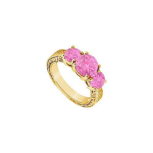 Pink Sapphire Three Stone Ring : 14K Yellow Gold - 1.50 CT TGW-JewelryKorner-com