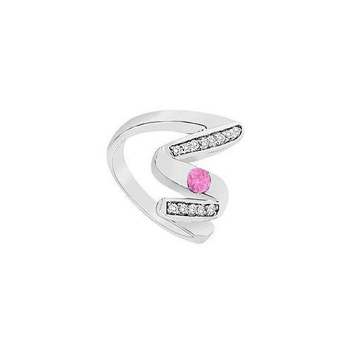 Pink Sapphire Zig-Zag Ring : 14K White Gold : 0.50 CT TGW-JewelryKorner-com