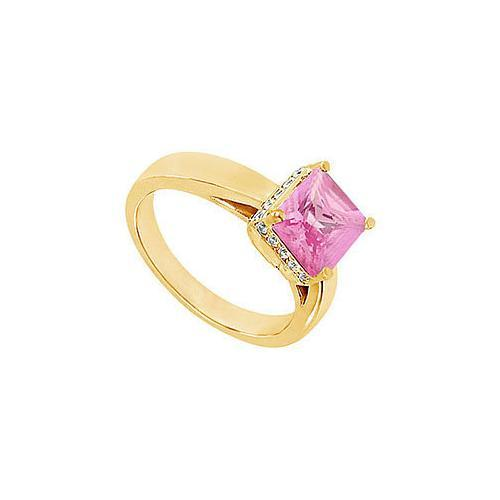 Pink Topaz and Diamond Ring : 14K Yellow Gold - 1.00 CT TGW-JewelryKorner-com