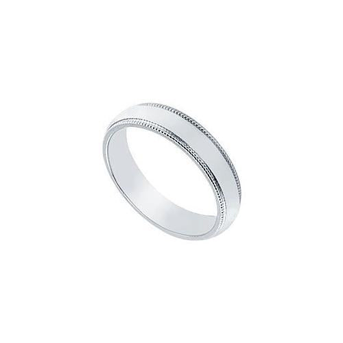 Platinum 4MM Non-Comfort Fit Milgrain Wedding Band-JewelryKorner-com