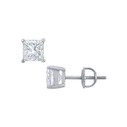 Platinum : Princess Cut Diamond Stud Earrings 2.00 CT. TW.-JewelryKorner-com