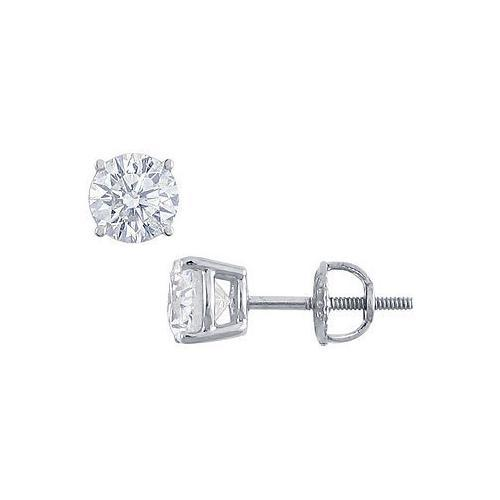 Platinum : Round Diamond Stud Earrings 1.75 CT. TW.-JewelryKorner-com