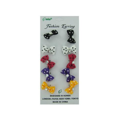 Polka dot bow fashion earrings 5 pair ( Case of 24 )-JewelryKorner-com