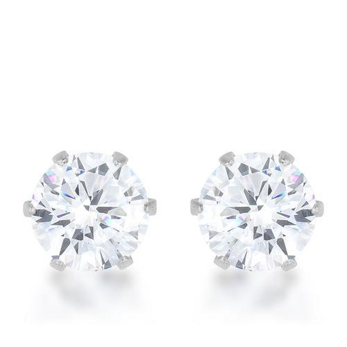 Reign 3.4ct CZ Rhodium Stainless Steel Stud Earrings-JewelryKorner-com