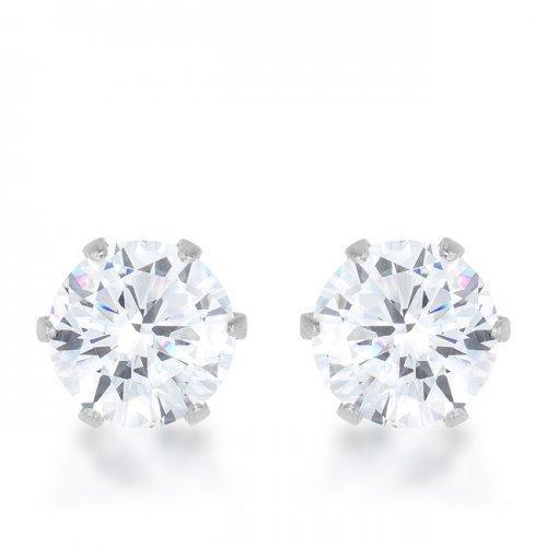 Reign 3.4ct Cz Rhodium Stainless Steel Stud Earrings (pack of 1 ea)-JewelryKorner-com