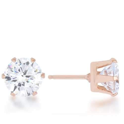 Reign 3.4ct CZ Rose Gold Stainless Steel Stud Earrings-JewelryKorner-com