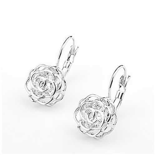 ROSE IS A ROSE 18kt Rose Crystal Earrings In White Yellow And Rose Gold Plating-JewelryKorner-com