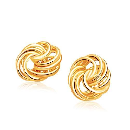 Rosetta Petite Love Knot Stud Earrings in 14K Yellow Gold-JewelryKorner-com