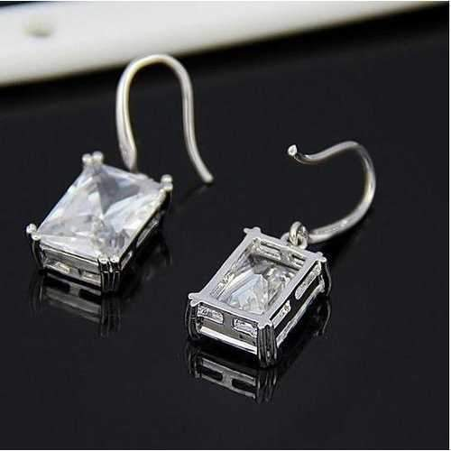 Royalty Earrings Emerald Cut Big Solitaires On Hooks-JewelryKorner-com