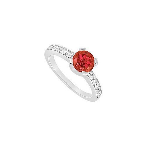 Ruby and Diamond Engagement Ring : 14K White Gold - 0.66 CT TGW-JewelryKorner-com