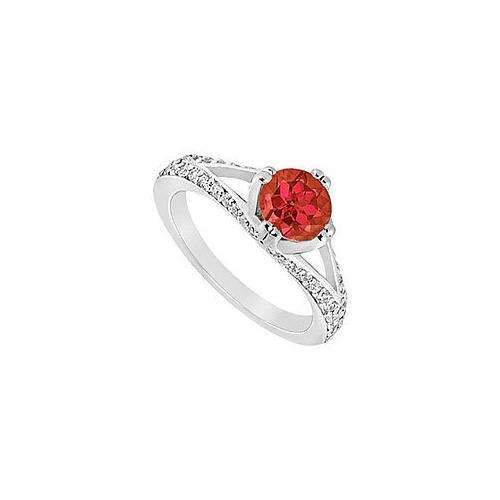 Ruby and Diamond Engagement Ring : 14K White Gold - 1.00 CT TGW-JewelryKorner-com