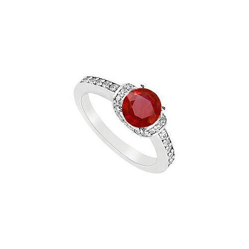 Ruby and Diamond Engagement Ring : 14K White Gold - 1.25 CT TGW-JewelryKorner-com