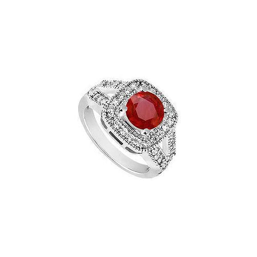 Ruby and Diamond Engagement Ring : 14K White Gold - 1.50 CT TGW-JewelryKorner-com