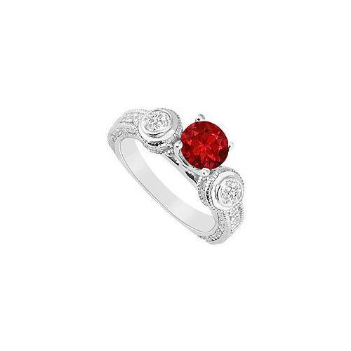 Ruby and Diamond Engagement Ring : 14K White Gold - 2.00 CT TGW-JewelryKorner-com