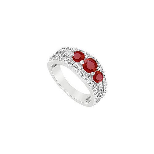 Ruby and Diamond Engagement Ring : 14K White Gold - 2.25 CT TGW-JewelryKorner-com