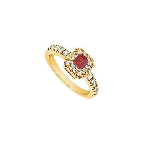 Ruby and Diamond Engagement Ring : 14K Yellow Gold - 0.50 CT TGW-JewelryKorner-com