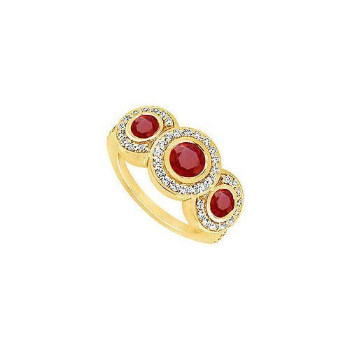 Ruby and Diamond Engagement Ring : 14K Yellow Gold - 0.66 CT TGW-JewelryKorner-com