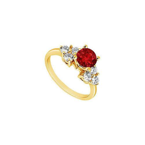 Ruby and Diamond Engagement Ring : 14K Yellow Gold - 0.75 CT TGW-JewelryKorner-com