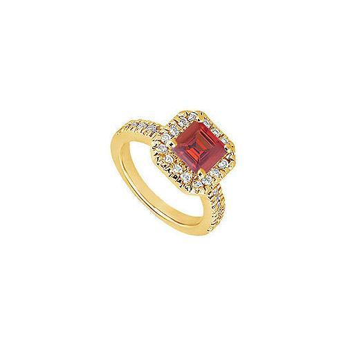 Ruby and Diamond Engagement Ring : 14K Yellow Gold - 1.00 CT TGW-JewelryKorner-com