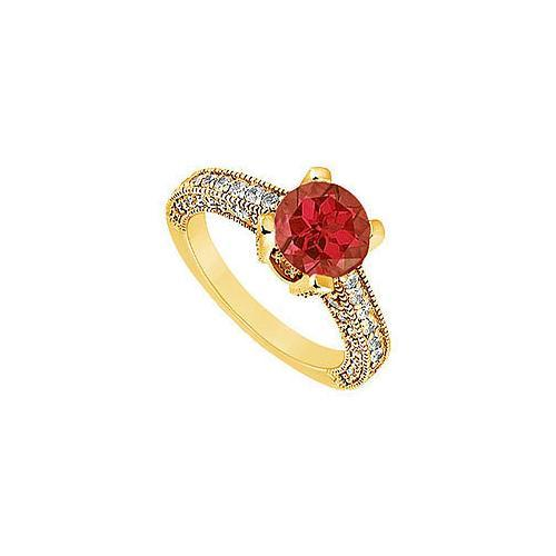 Ruby and Diamond Engagement Ring : 14K Yellow Gold - 1.25 CT TGW-JewelryKorner-com