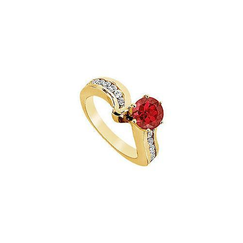 Ruby and Diamond Engagement Ring : 14K Yellow Gold - 1.50 CT TGW-JewelryKorner-com