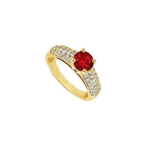 Ruby and Diamond Engagement Ring : 14K Yellow Gold - 1.50 TGW-JewelryKorner-com