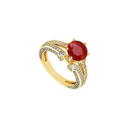 Ruby and Diamond Engagement Ring : 14K Yellow Gold - 1.75 CT TGW-JewelryKorner-com
