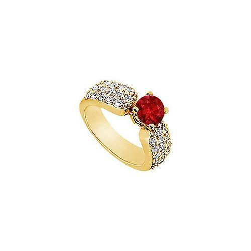 Ruby and Diamond Engagement Ring : 14K Yellow Gold - 2.00 CT TGW-JewelryKorner-com