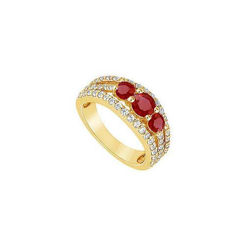 Ruby and Diamond Engagement Ring : 14K Yellow Gold - 2.25 CT TGW-JewelryKorner-com