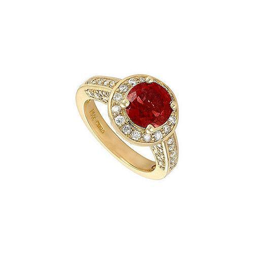 Ruby and Diamond Engagement Ring : 14K Yellow Gold - 4.00 CT TGW-JewelryKorner-com