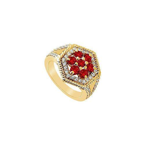 Ruby and Diamond Flower Ring : 14K Yellow Gold - 1.50 CT TGW-JewelryKorner-com