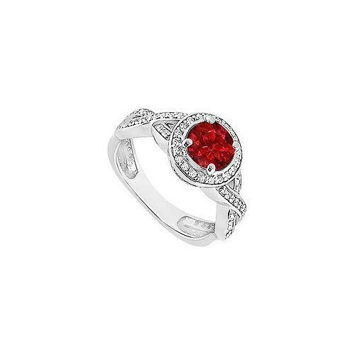 Ruby and Diamond Halo Engagement Ring : 14K White Gold - 1.40 CT TGW-JewelryKorner-com