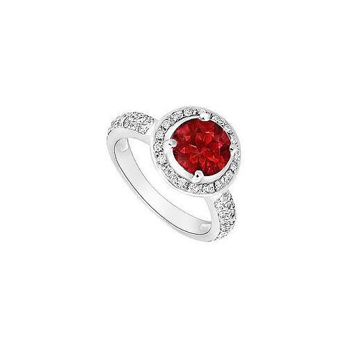 Ruby and Diamond Halo Engagement Ring : 14K White Gold - 1.50 CT TGW-JewelryKorner-com