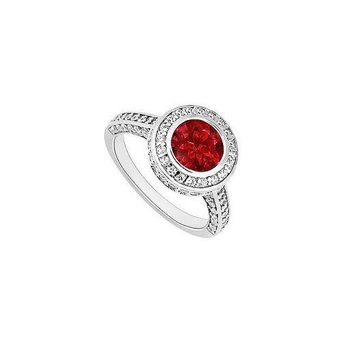 Ruby and Diamond Halo Engagement Ring : 14K White Gold - 2.00 CT TGW-JewelryKorner-com