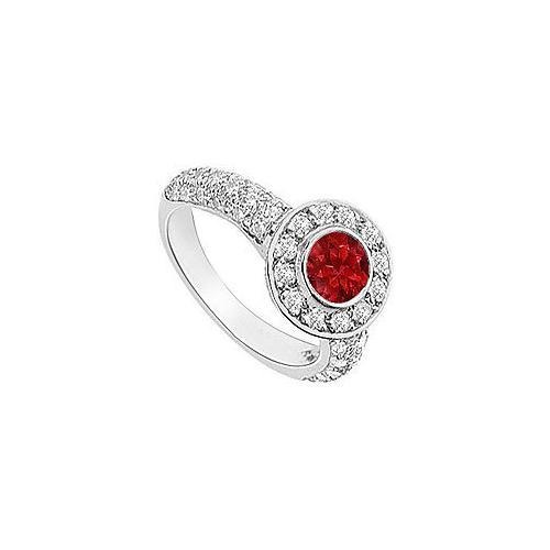 Ruby and Diamond Halo Engagement Ring : 14K White Gold - 2.25 CT TGW-JewelryKorner-com