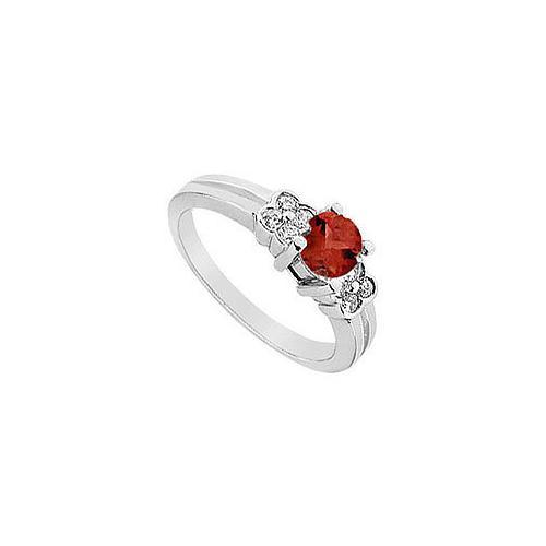 Ruby and Diamond Ring : 14K White Gold - 0.75 CT TGW-JewelryKorner-com