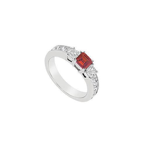 Ruby and Diamond Ring : 14K White Gold - 1.00 CT TGW-JewelryKorner-com