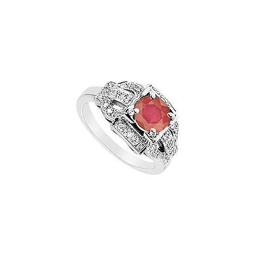 Ruby and Diamond Ring : 14K White Gold - 1.25 CT TGW-JewelryKorner-com