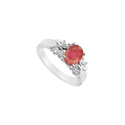 Ruby and Diamond Ring : 14K White Gold - 1.75 CT TGW-JewelryKorner-com