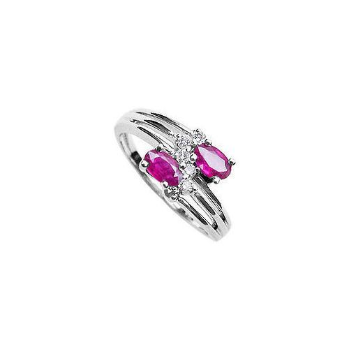 Ruby and Diamond Ring : 14K White Gold - 2.00 CT TGW-JewelryKorner-com