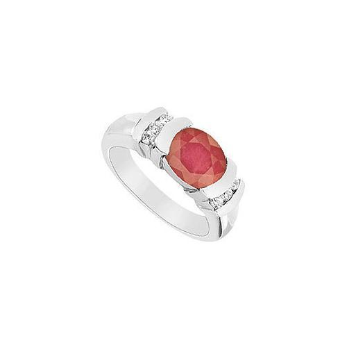 Ruby and Diamond Ring : 14K White Gold - 3.25 CT TGW-JewelryKorner-com