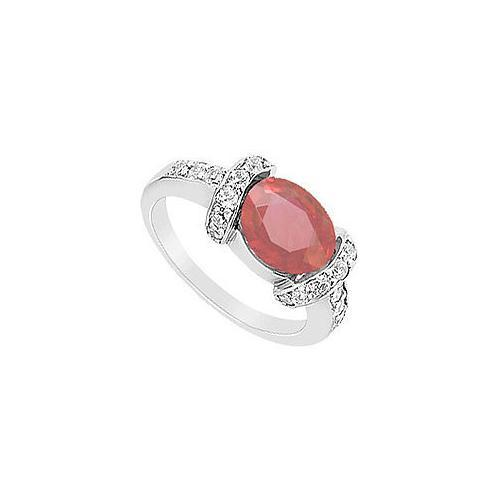 Ruby and Diamond Ring : 14K White Gold - 3.50 CT TGW-JewelryKorner-com