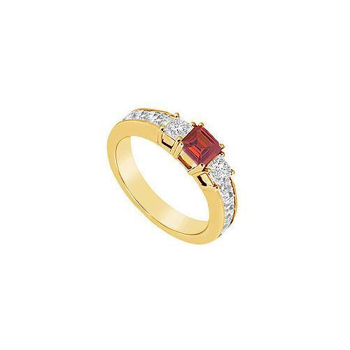 Ruby and Diamond Ring : 14K Yellow Gold - 1.00 CT TGW-JewelryKorner-com