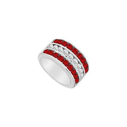 Ruby and Diamond Row Ring : 14K White Gold - 2.50 CT TGW-JewelryKorner-com