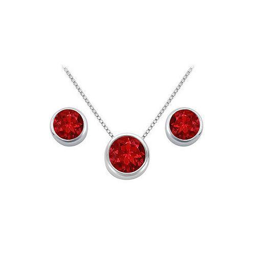 Ruby Pendant and Stud Earrings Set in Sterling Silver 2.00 CT TGW-JewelryKorner-com